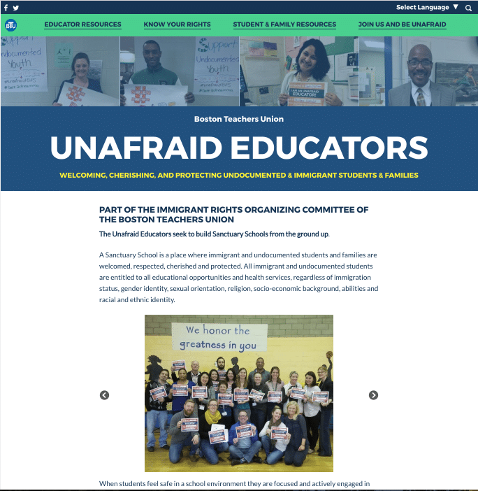 Image of Unafraid Educators WordPress Website by ForwardJump Marketing.